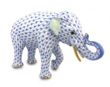 Herend Porcelain Fishnet Figurine of an Asian Elephant